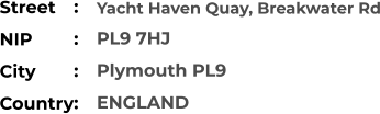 Yacht Haven Quay, Breakwater Rd PL9 7HJ Plymouth PL9 ENGLAND Street        NIP             City                    Country     :  :  :  :