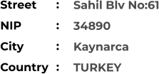 Sahil Blv No:61 34890 Kaynarca TURKEY Street        NIP             City                Country     :  :  :  :